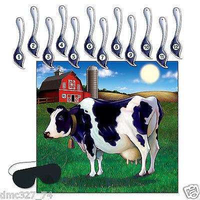 2 FARM Barnyard Cowboy Birthday Party Game PIN THE TAIL ON THE COW for 24 - Pin The Tail On The Cow