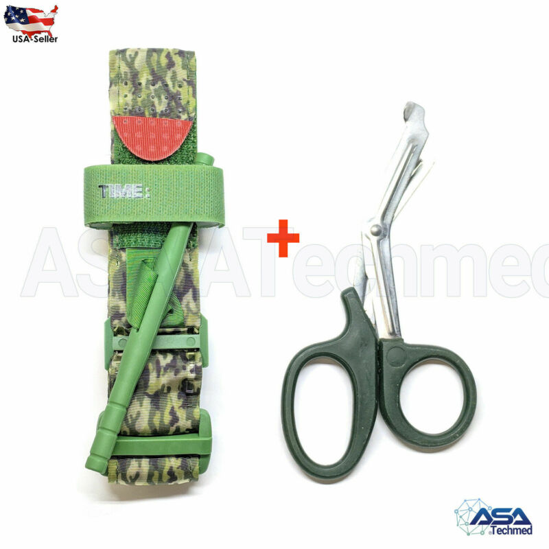 One Hand Tourniquet Combat Application First Aid Handed + Free Shear Green Camo