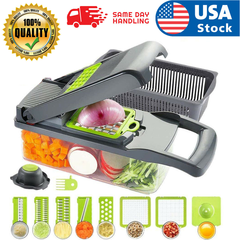 USA 12 in 1 Vegetable Chopper Spiralizer Mandolin Slicer Grater with Container Home & Garden