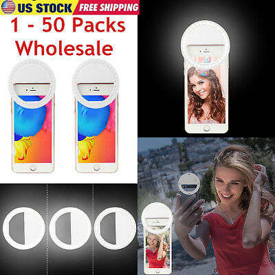1 - 50 Lot Bulk Wholesale Selfie Portable LED Ring Fill Light Camera for - Led Rings Wholesale