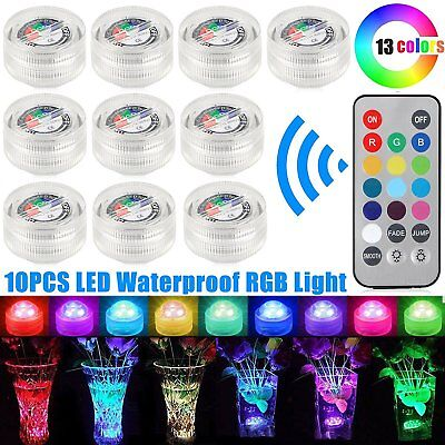 10pack Waterproof LED Color RGB Submersible Light Lamp Party Vase Remote Control