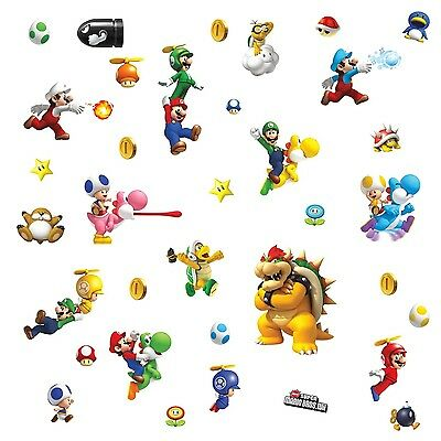SUPER MARIO BROTHERS 35 BiG Wall Stickers NINTENDO Wii Game Room Decor Decals A