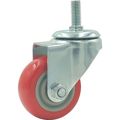 3 Caster Wheels Swivel Plate Stem Casters On Red Polyurethane Heavy Duty Wheel