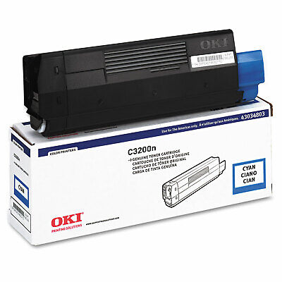 NEW OKI Data 43034803 Genuine Original Cyan Laser Printer Toner for C3200n 43034803 Cyan Laser Toner