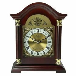 Wooden Chiming Mantel Clock Ornate Redwood Traditional Carved 14.8 11.8 5