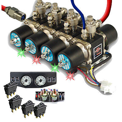 Air Ride Suspension Manifold Valve with all fittings 12  Dual Gauges