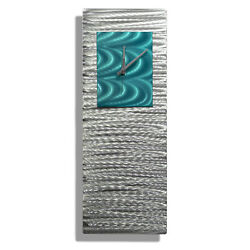 Modern Aqua & Silver Metal Wall Clock, Contemporary Metal Wall Art by Jon Allen
