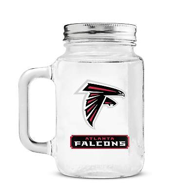 Atlanta Falcons 20oz Glass Mason Jar Mug Lid FAST SHIPPING