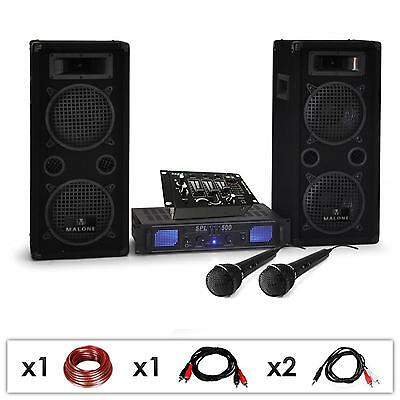 Set Dj Casse Pa Amplificatore Set Completo Mixer Microfono Karaoke Cavi 1600W