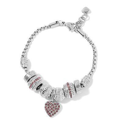"""Stainless Steel Fancy Pink Crystal Heart charm Women Bracelet 7""""-8"""" Cttw 0.76"""