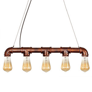 Industrial vintage loft iron pipe ceiling fixture pendant for Iron pipe ceiling light