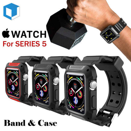 For Apple Watch Series 4/5 Rugged Protective Case w/ Silicon