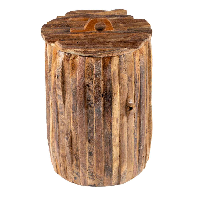 WOHNFREUDEN Holz Aufbewahrungs-Korb WISMO aus Teakholz 30 x 30 x 40 cm Größe S