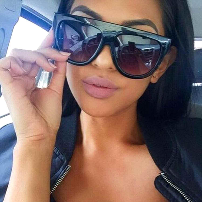 Designer Inspired Flat Top Shadow Sunglasses Oversized Thick Frame Retro Vintage