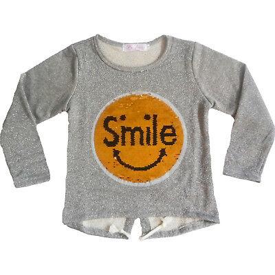 Girl Two 2 Way Brush Emoji Sequin Long Sleeve T-Shirt Top Brush Up Down - Long Way Down T-shirt