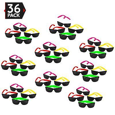 36pk Neon Child Sunglasses Bulk Lot Party 80s Style Retro Eyewear Accessories
