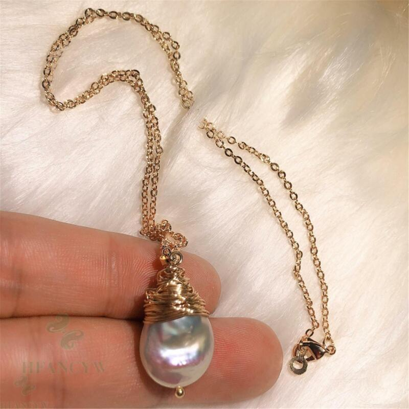 Color Baroque Pearl 18k Gold Necklace 18 inches Classic Charm Jewelry Luxury DIY