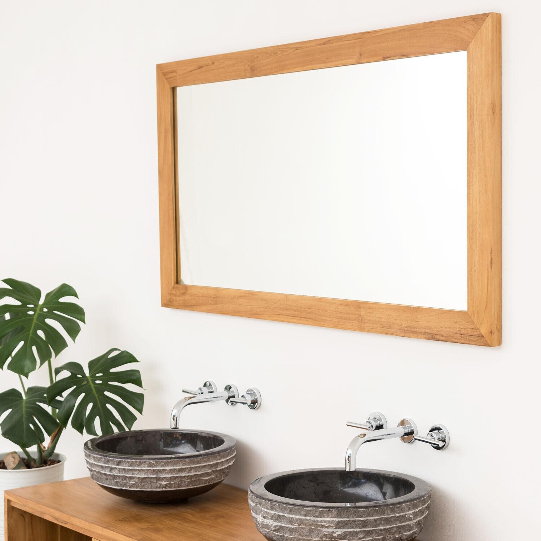 wohnfreuden Teakholz Spiegel 10x3x70cm Wandspiegel mit Holzrahmen
