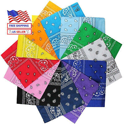 "New Cotton Paisley Print Scarf Bandana Handkerchief Head Wrap 22' X 22"""