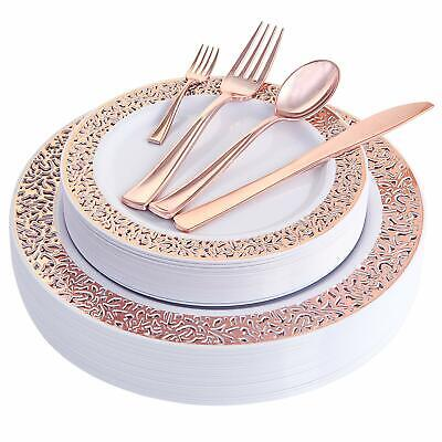 150PCS Rose Gold Plastic Plates with Disposable Plastic Silverware,Lace Design](Gold Disposable Plates)