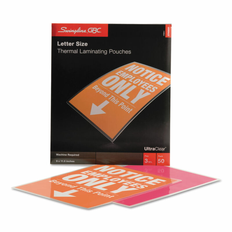 Swingline GBC UltraClear Thermal Laminating Pouches 3 mil 9 x 11 1/2 50/Box
