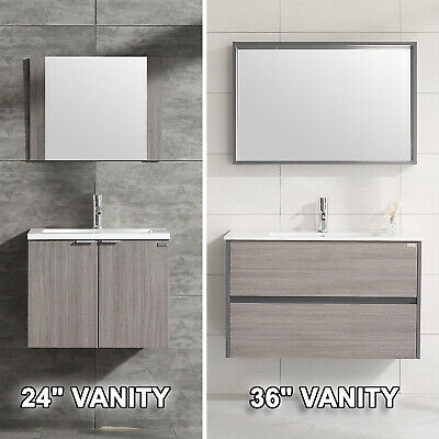 Wall Mount Bathroom Vanity Wood Cabinet Set Undermount Resin Sink 24