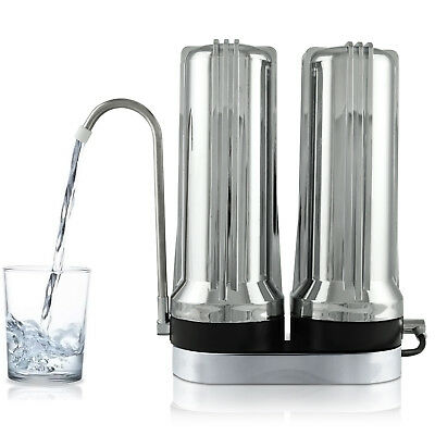 APEX EXPRT MR-2050 Dual Countertop Carbon Alkaline pH Water Filter System Chrome