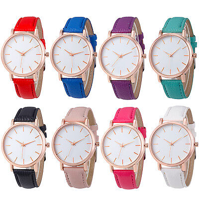 New Fashion Women  Leather Analog Stainless Steel Quartz Wrist Watch 2017