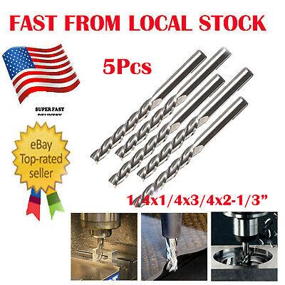4 Flute End Mill Cutter -5pc 14 X14 Hss Cnc Straight Shank Drill Bit Tool Us