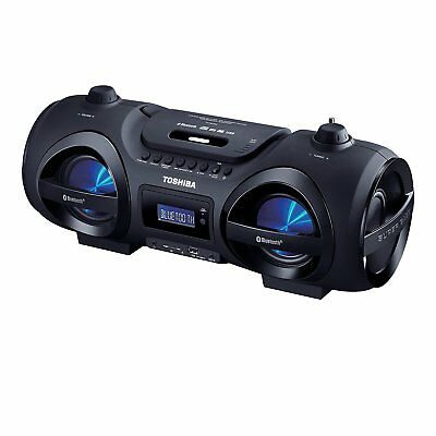 Toshiba Portable Bluetooth CD Player Boombox w/ Remote Disco Lights USB SD AUX](Boom Boxes)