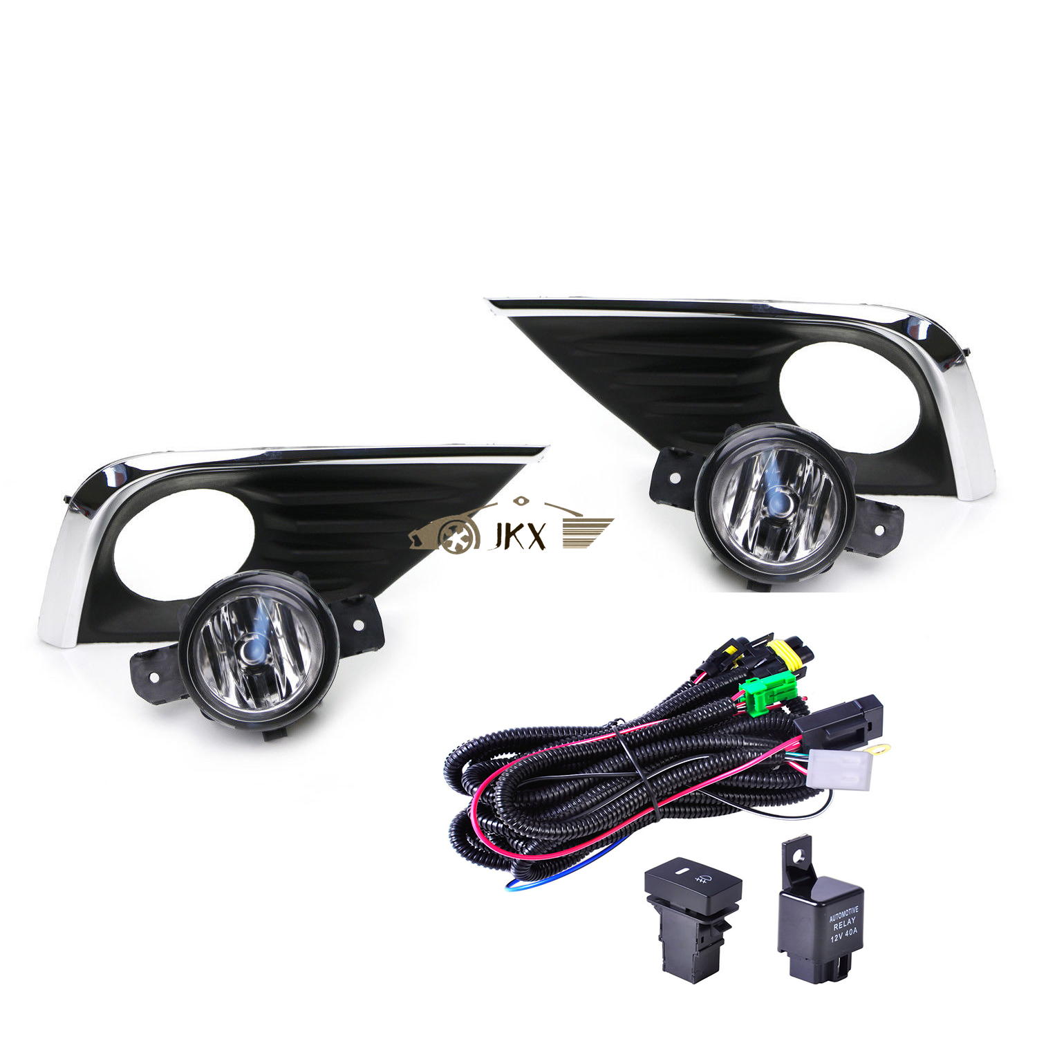 For 2016-2018 Nissan Altima Clear Lens Fog Light Kit with Bezel Wire Switch Bulb