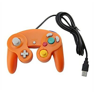 Orange Game cube Style USB Wired Controller for PC and Mac-Classic Nintendo for sale  Canada
