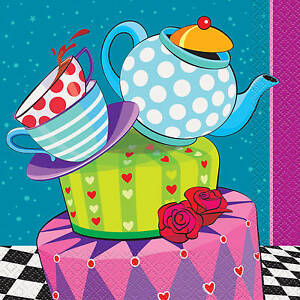ALICE IN WONDERLAND MAD HATTER TEA PARTY LUNCH NAPKINS TABLE DECORATION
