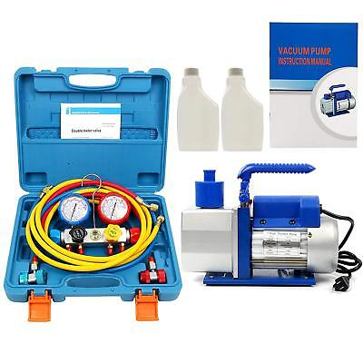 R410a R134a R22 4.8 Cfm Vacuum Pump Hvac Ac Refrigerant 4valve Manifold Gauge