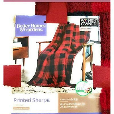 """Better Homes & Garden Sherpa Throw Red Plaid Blanket~Buffalo Check 50""""x 60"""""""