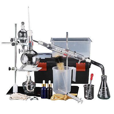 500ml New Lab Essential Oil Distillation Pure Water Apparatus Glassware Kits
