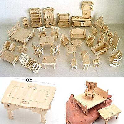 Wooden Dollhouse Furniture Miniature Lot Kit Set Mini Handmade Girl Accessories