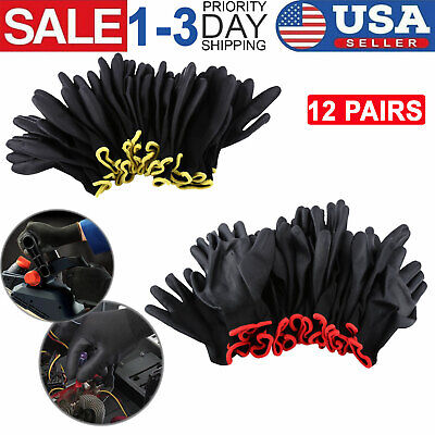12 Pairs Nylon Pu Safety Work Gloves Lot For Builders Mechanic Palm Coating Sm