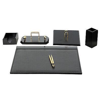 Flash 6 Pcs Desk Blotter Set Made Of Imitation Leather Wood In Black