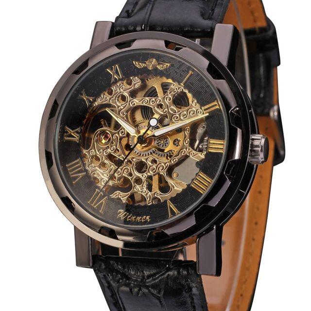 wrist watch men black skeleton dial hand wind up leather men s black skeleton dial hand wind up leather mechanical wrist watch