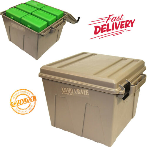 Ammo Crate Utility Box Ammunition Military Hunting Case Storage MTM Safe Plastic