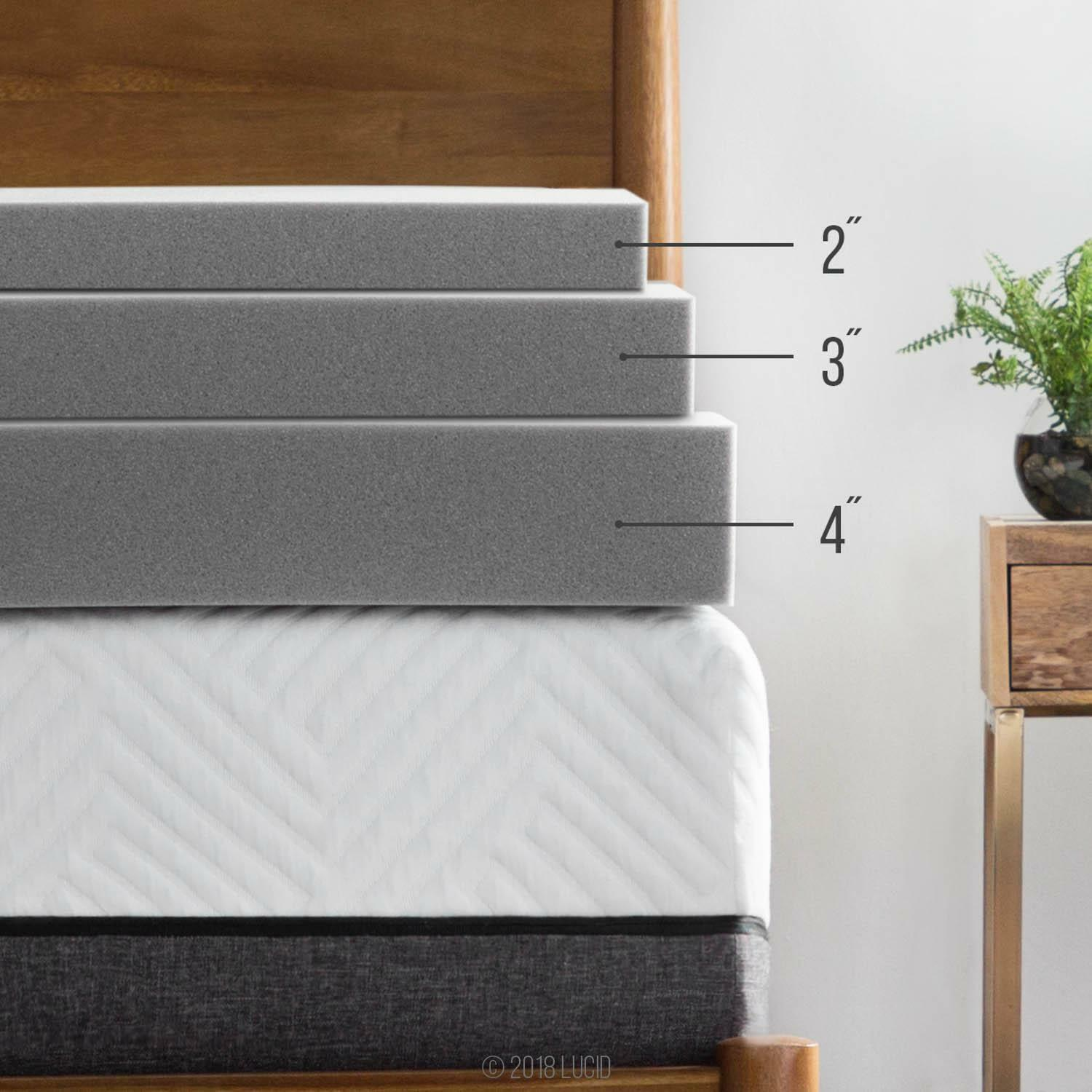 LUCID Bamboo Charcoal Memory Foam Mattress Topper - 2/3/4 In