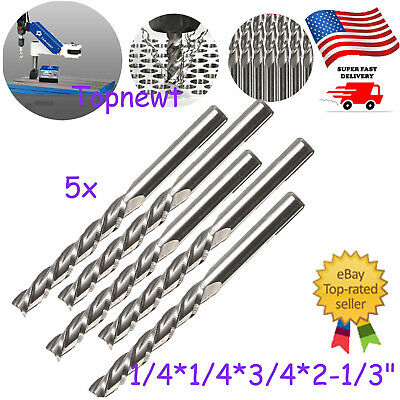 5pc 14 X14 Hss Cnc Straight Shank 4 Flute End Mill Cutter Drill Bit Tool Us