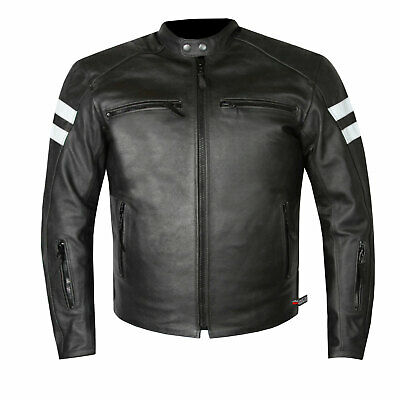 Men's Premium Leather Street Cruiser Armored Biker Motorcycle Riding Jacket - Mens Leather Cruiser