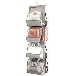Zober Hanging Purse Organizer For Closet Clear Handbag Organizer For Purses  Gray