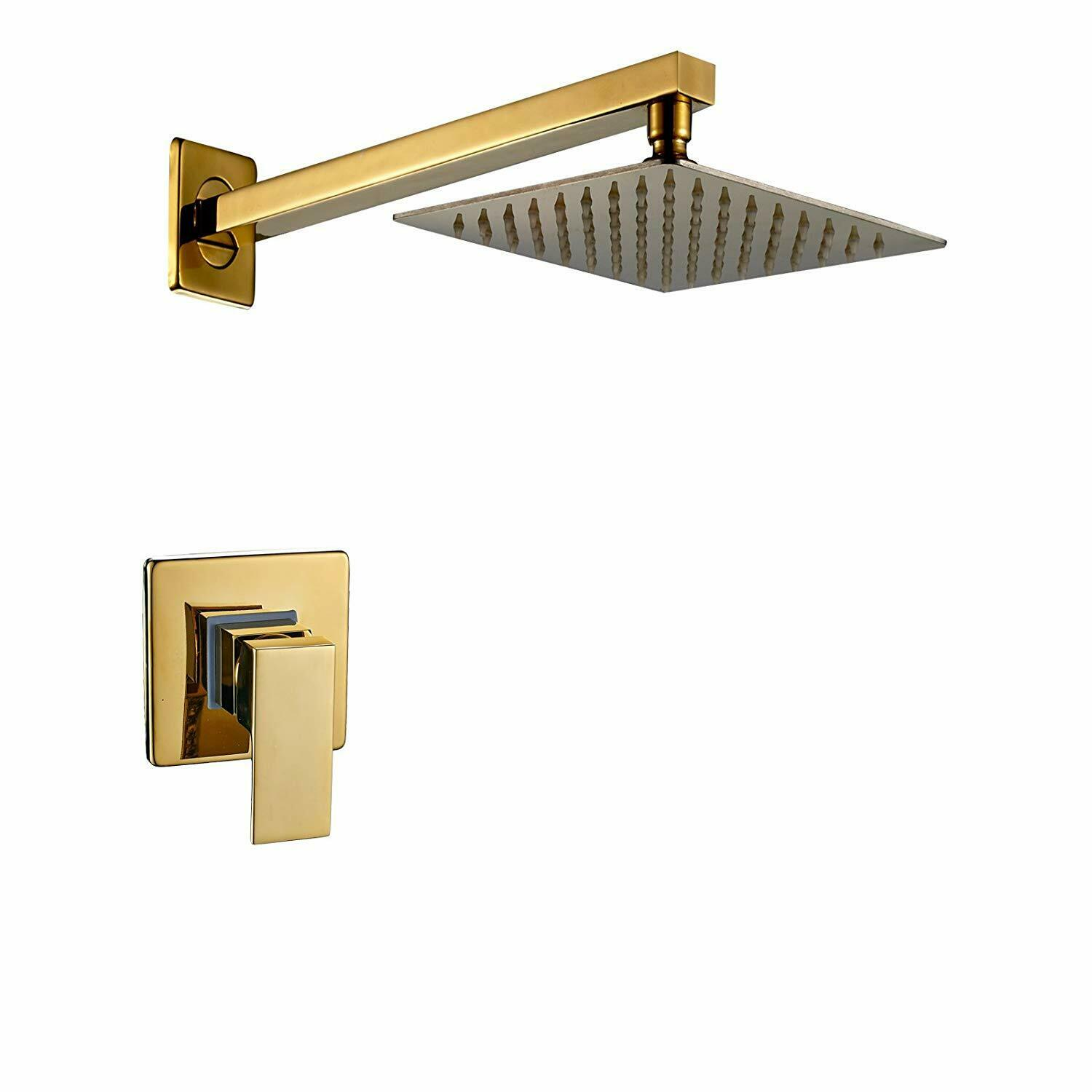 Details About Gold Wall Mounted 8 Inch Rainfall Shower Head Faucet With One Way Mixer Valve