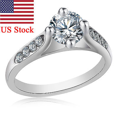 925 Silver Wedding Fashion Women Ring 18K Gold Plated Crystal Engagement Gift US