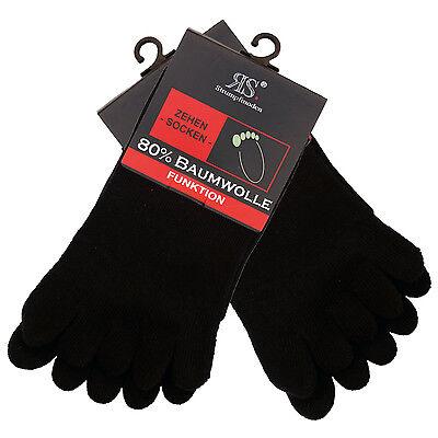 10 Paar schwarze Zehensocken Baumwolle Zehen Strumpf Strümpfe mit echter Ferse! ()