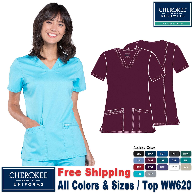 Cherokee Workwear Scrubs V Neck Top WW620 WIN Wine Free Shipping