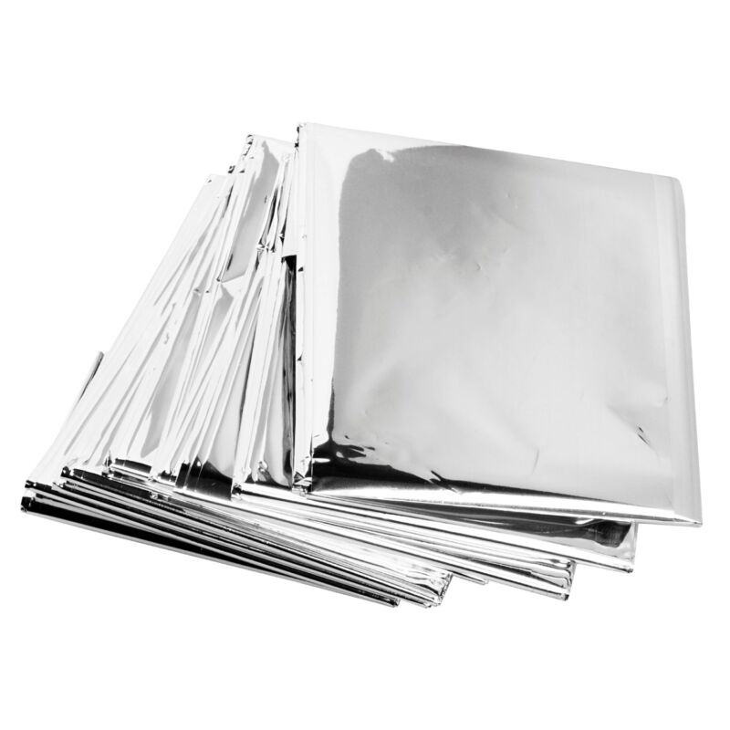 """Lot of 12 Emergency Mylar Rescue Space Thermal Blankets 62"""" x 82"""""""